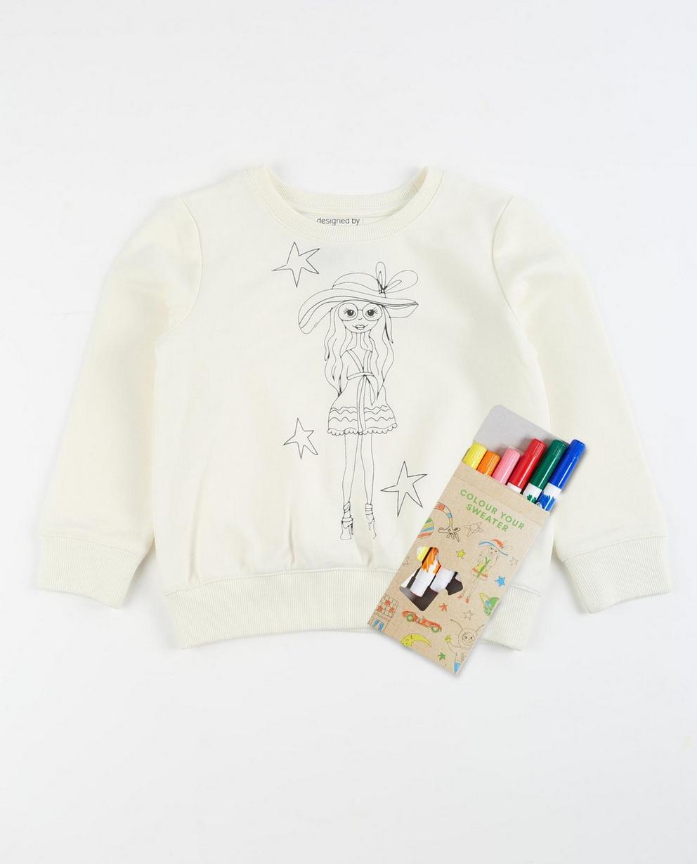 Sweater mit Dame - und Textilstiften - JBC